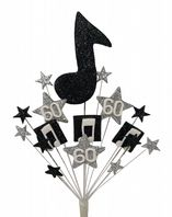 Music notes 60th birthday cake topper decoration in black and silver - free postage